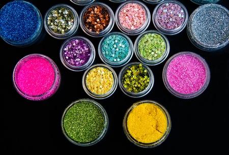 Set of colorful glitter make up