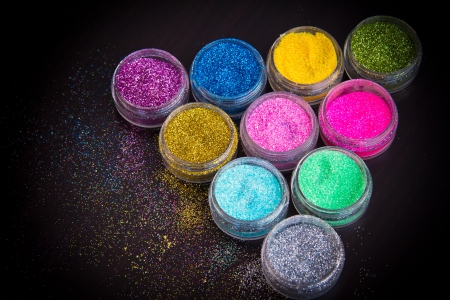glitter makeup: Juego de brillo colorido maquillaje Foto de archivo