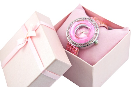Womens Pink Watch In A Pink Bow Box Stock Photo