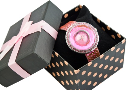 Womens Pink Watch In A Bow Box photo