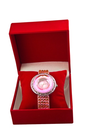 Womens Pink Watch In A Velvet Box photo
