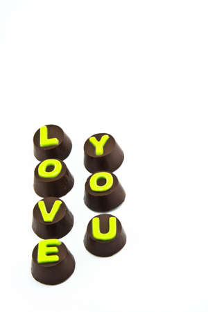 Chocolate Letters Spelling Love you photo