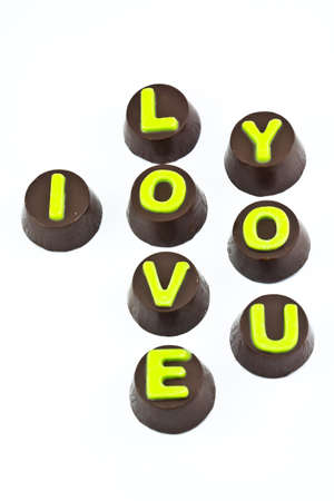 Chocolate Letters Spelling I Love you photo