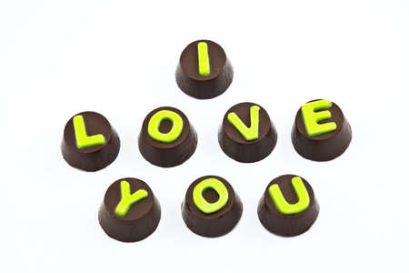 Chocolate Letters Spelling I Love you Stock Photo - 11771845