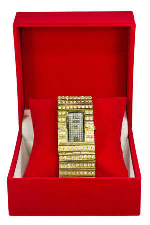 Womens Golden Watch In Red Box photo