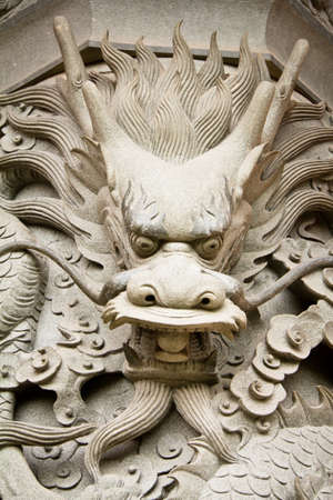 Dragon Statue Head At Chinese Temple