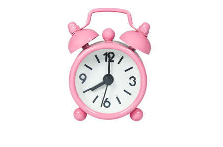 snooze: Pink Alarm Clock On White Background