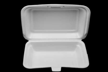 Foam box on black background Stock Photo