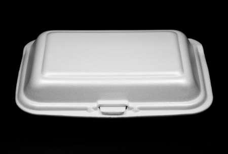 Foam box on black background photo