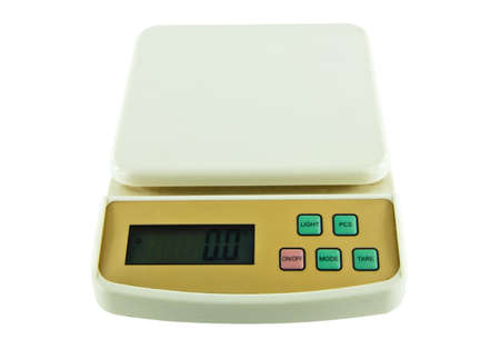 Small Object Weighing  Scales On Isolated, White Background