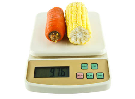 Vegetables Weighing  Scales On Isolated, White Background Stock Photo - 13848636