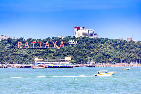 Pattaya City Sign, Famous Tourism In Thailand. photo