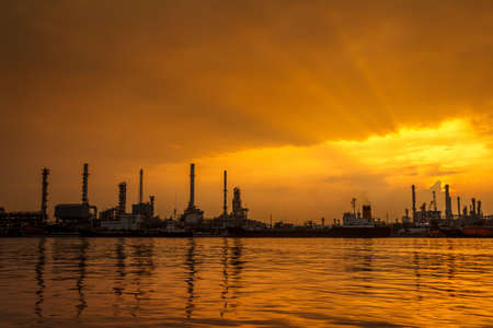 Morning Golden Sunrise At Petroleum Refinery Twilight photo