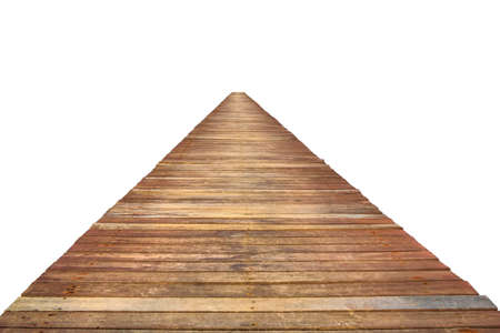 Wooden Walk Way Up On White Background photo
