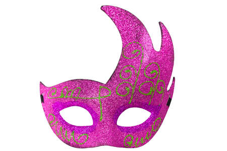 Beautiful Pink Half Moon Shape Fantasy Mask Isolated On White Background