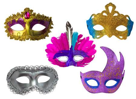 mascara de carnaval: Mask Fantasy Hermoso conjunto aislado en el fondo blanco