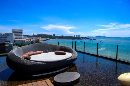 hotel balcony: Horizon Sea View With Rattan Chair At Pattaya City