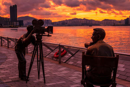Morning City, Tranquil Sunrise Scene At Avenue Of Stars Hong Kong Editorial