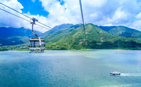 Cable Car Above Sea And Valley