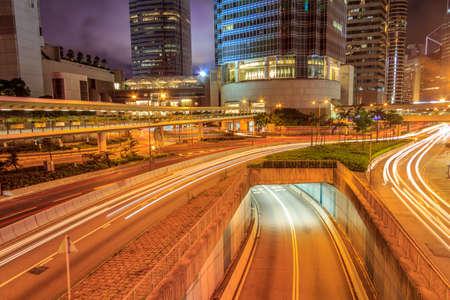 Night Traffic Of Hong Kong City  photo