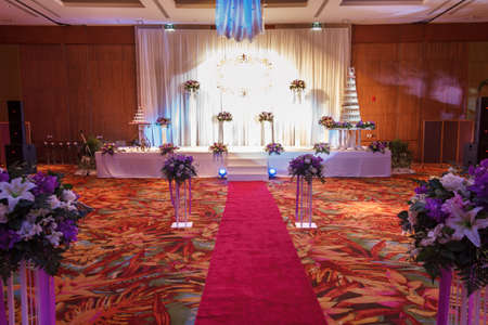 Luxury Indoors Red Carpet With Stage Wedding Party