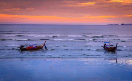 nang: Ao Nang Beach Sunset, Krabi, Thailand  Stock Photo