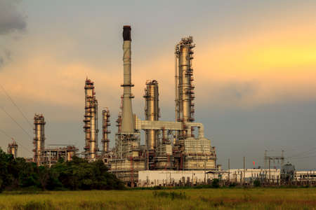 Evening Sunset At Petroleum Refinery