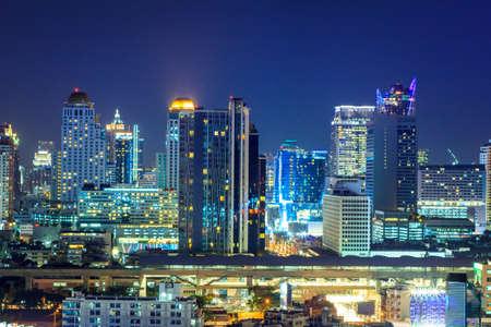 Bangkok Skyscraper City At Night photo