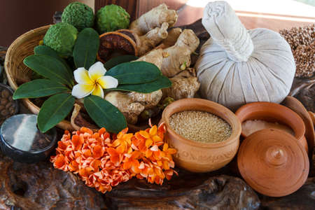Thai Herb With Many Different In Set Ready For Body Massage Spa Treatment