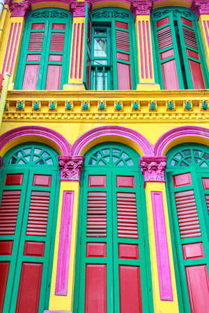 Colorful Windows In Chinatown, Singapore  photo