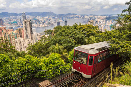 old building: Hong Kong Peak Tram With City View