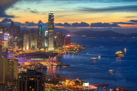 High Angle Viewpoint In Hong Kong Cityscape As Sunset photo