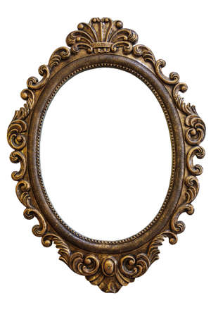 gold picture frame: Golden Vintage Style Frame Isolated On White Background