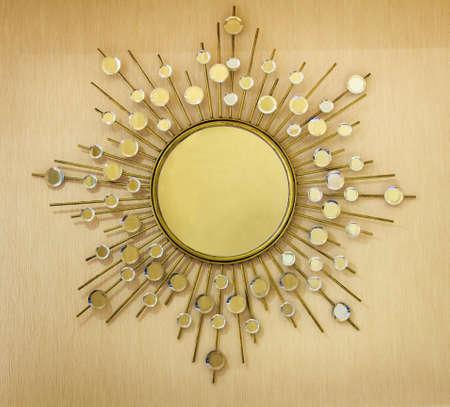 wood art: Golden Modern Style Mirror Frame On Wooden Background
