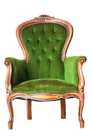 antique chair: Luxury Green Vintage Chair On White Background