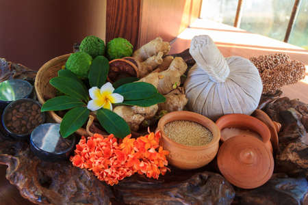 Thai Herb With Many Different In Set Ready For Body Massage Spa Treatment photo