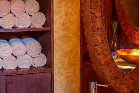 Wooden style luxury bathroom interior photo