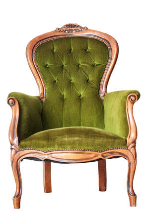 Luxury Green Vintage Chair On White Background