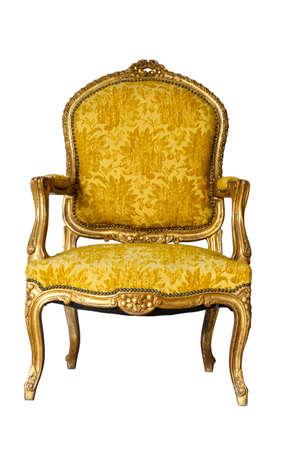 Luxury Golden Vintage Chair On White Background photo