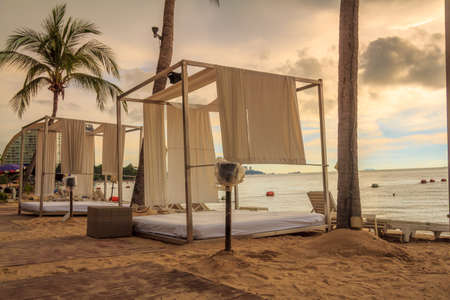 cabana: Romantic Cabana Bed On The Beach At Sunset