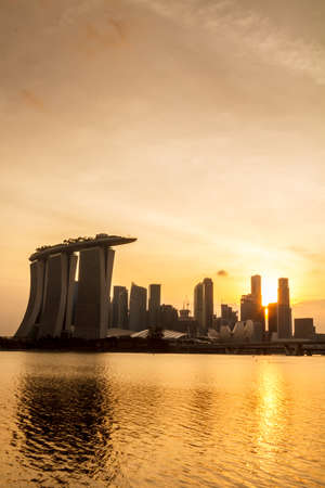 marina bay: Singapore Twilight City Silhouette With Crowded Buildings