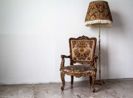 Golden Classic Chair And Lamp photo