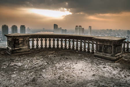 Haunted Abandoned Building At Sunset City View In Bangkok City Thailand.