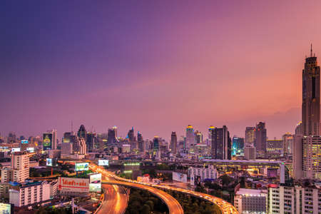 City Night Scene In Bangkok Thailand