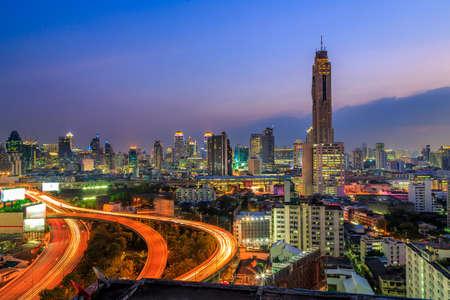 City Night Scene In Bangkok Thailand photo