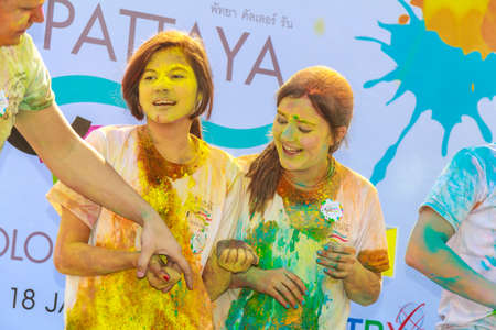 period costume: Pattaya, Thailand - January 18, 2015: The Pattaya Color Run 2015 took place on the morning of Sunday 18th January at Pratumnak Hill. Hundreds of people joined in with this fun event which was organized by the Rotary Club of Jomtien. The color run is a pop Editorial