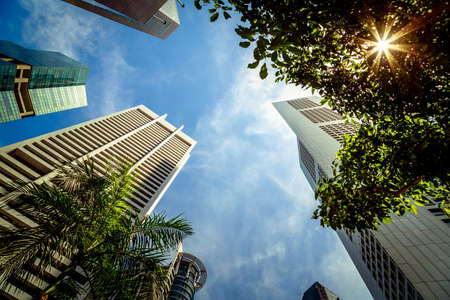 tall buildings: Hot Sunny Day With Buildings And Sky