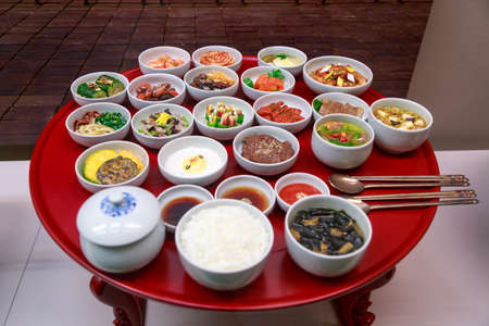 side dishes: Set Of Traditional Korean Food Side Dishes Stock Photo