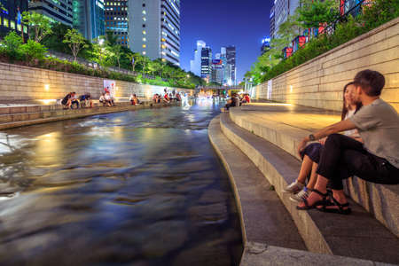 Seoul, South Korea - June 12, 2015: Cheonggyecheon is a 10.9 km long, modern public recreation space in downtown Seoul, South Korea. Editorial