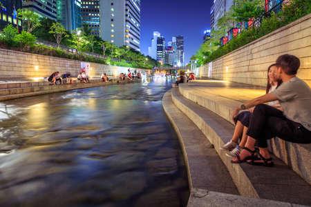 south korea: Seoul, South Korea - June 12, 2015: Cheonggyecheon is a 10.9 km long, modern public recreation space in downtown Seoul, South Korea. Editorial